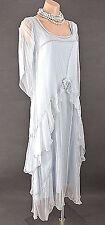 Downton Abbey Dress Nataya SALE Blue Long Victorian Vintage style Sheer Formal S