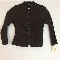 New Canyon River Blues Women's Belted Twill Jacket Top Dark Espresso Size 16 NWT