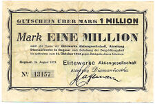 Siegmar bei Chemnitz Elitewerke AG Diamantwerke 1 Million Mark 24.8.1923 Notgeld