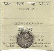 1901 Ten Cents ICCS Graded VF-30 HIGH Grade Razor Sharp VF-EF LAST Victoria Dime