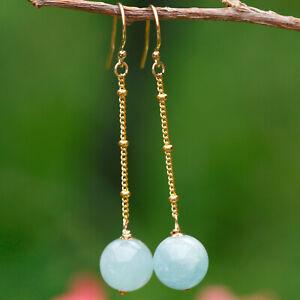 No 305 Elegant Natural Aquamarine 10mm bead Earrings/tassel 14KGF Original works