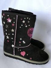 Kitson Los Angeles Shoes Junior Size 4 Leather Upper Black-pink NEW
