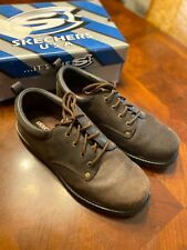 Men's Skechers Alley Cats SN7111 Rugged Brown Leather Oxfords Sz 12 M