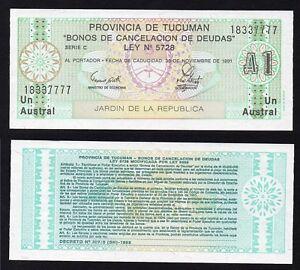 Argentina 1 austral Provincia de Tucuman 1991 FDS/UNC  B-05
