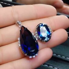 Certified Natural Sapphire 925 Sterling Silver White Pendant Ring Set Women Gift