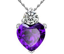 "18"" Sterling Silver Purple Amethyst Heart Crystal CZ Pendant Necklace Gift Box"