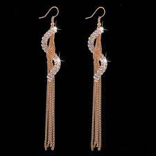 18K YELLOW GOLD PLATED  CLEAR AUSTRIAN CRYSTAL LONG DANGLE TASSEL EARRINGS