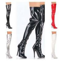 New Womens Ladies Mens Thigh High Over The Knee High Heel Stretch Boots SIZ 3-12