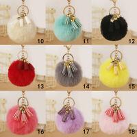 Pompom Faux Rabbit Fur Ball Keychain Tassel Key Ring Bag Pendant Alloy Lovely