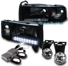 94-01 DODGE RAM DRL LED BLACK CRYSTAL HEAD LIGHTS W/DRIVING FOG LAMP+50W 6K HID
