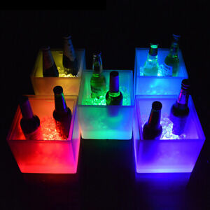 3.5L Waterproof LED Color Changing Plastic Ice Bucket Bars Champagne Beer P3