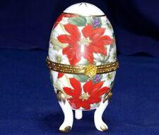 Beautiful vintage hinged trinket box porcelain egg Euc