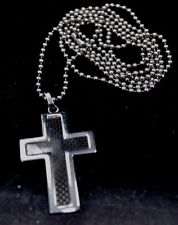 """Stainless Steel Cross pendant with Carbon Fiber insert & 30"""" steel bead chain"""