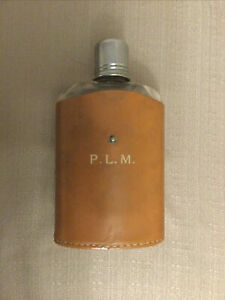 Vintage Glass Hip Flask in Genuine Leather Case