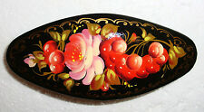 PRETTY RUSSIAN HANDPAINTED HAIR BARRETTE ~ NEW ~ SIGNED BY ARTIST