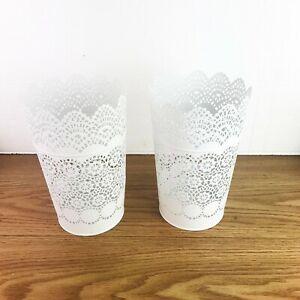 IKEA  2x Snowflake Pattern Tin Lantern for Block Candle White 402.360.44 Skurar