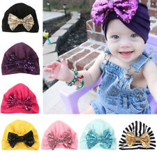 Infant Baby Girls Soft Stretchy Beanie Cap Cute Shiny Sequin Bowknot Turban Hat