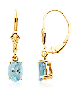 Aquamarine Leverback Dangle Earrings 14K White Yellow or Rose Gold 7 x 5mm Oval