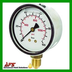 "(2.1/2"") 63mm Hydraulic Pressure Gauge Glycerine Filled 1/4 BSPP Connection BSP"