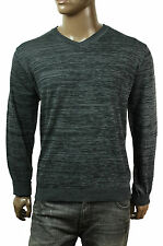 NEW MENS VIA EUROPA V NECK BLACK SLUB PULLOVER SWEATER L