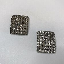 "VINTAGE 2 Rectangle Rhinestone Buttons 1"" x 1.25"" Round And Baguette"