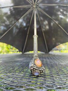 Victorian parasol / umbrella with gem stone handle