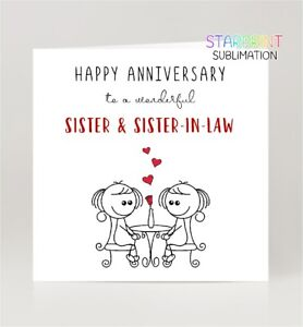 Sister & Sister-in-Law Anniversary Card, Gay/Lesbian/Same Sex Card, Blank Inside