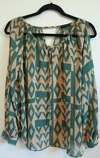 MINE womens Large cut out blouse green geometric print front tie longsleeve top