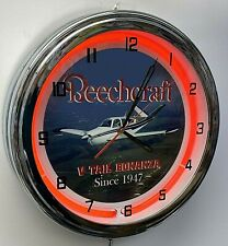 "Beechcraft Bonanza V Tail 16"" Red Neon Clock Airplane Aircraft"