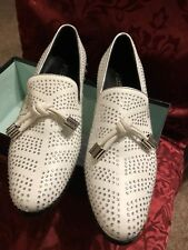 Fiesso Mens White Studded Rhinestone Suede Tassel Slip On Loafers (New) Size 10