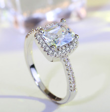 2 Carat Womens Engagement Promise RING EMERALD CUT Halo Sterling Silver Size 4-9