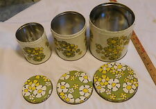 vintage Ballonoff Cleveland Ohio Made in USA Canister Set white with flowers