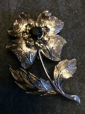 Costume Jewellery Brooch White Metal Rose Clear Rhinestones Centre Black Stone