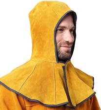 Ap 3000y Golden Cowhide Split Leather Welding Hood With 20cm Neck Shoulder Drape