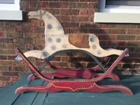 VINTAGE ANTIQUE EARLY 1900'S PRIMITIVE WOOD GLIDER ROCKING HORSE FOLK ART TOY