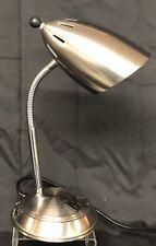Gooseneck Table Desk Work Lamp w/ Ac Outlet & Phone Jack Flexible Chrome Light