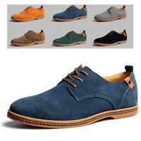Mens Suede Derby Shoes Casual Pointed Toe Lace-up Flats Formal Business Dress