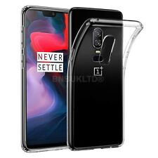 For OnePlus 6 Clear Slim Gel Case & Glass Screen Protector