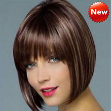 Women Ladies Real Natural Short Straight Hair Wigs Bob Style Cosplay Full Wig