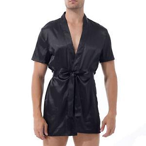 Men's Satin Kimono Gown Robe Thong Belt Bathrobe Nightwear Lounge Wear Homewear