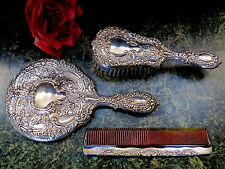 Antique GORHAM STERLING SILVER Brush, BEVELED Mirror, Comb Set VICTORIAN CHASED