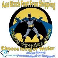 20cm Round Batman Edible Image Icing or Wafer Cake Topper Kids Birthday