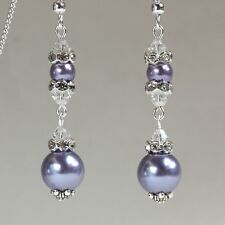 Lilac lavender pearls crystal vintage silver long drop wedding party earrings