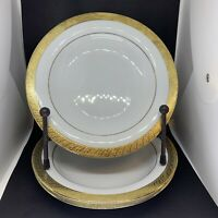 Vintage 3 Liberty House Hawaii PURE GOLD Dinner Salad or Pasta Plates  #9414