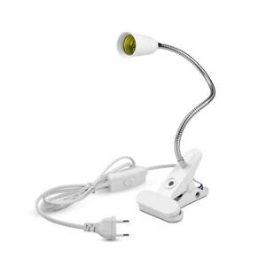 Flexible Clip on Switch E27 LED Light Lamp Bulb Holder Socket Adapter Converter