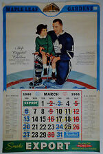 Toronto Maple Leafs Vintage Hockey Calendar Only 1 Page March 1966 NHL Export