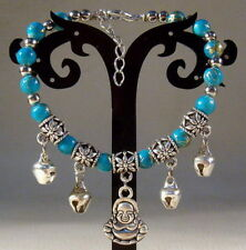 Hot Handmade Tibetan Silver Exquisite Blue Beaded Bracelet A09 (Buddha)
