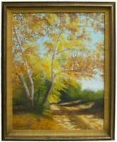 Original Manuel Garza Autumn Landscape Oil Painting on Canvas Signed 20 x 16