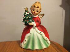 Vtg Napcoware Christmas Lady Angel holding Tree Planter Vase Figure