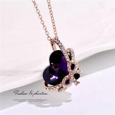 Women Fashion purple Crystal Rhinestone Heart Bow tie Pendant Necklace Jewelry